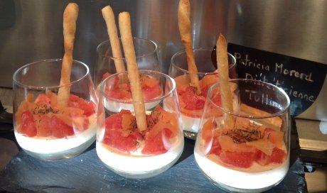 Pan à cotta saumon fulé et pamplemousse rose de Patricia Morard
