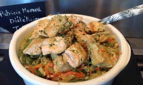 Curry express de saumon et légumes Patricia Morard coach minceur
