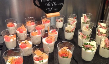 mini verrines light panna cotta saumon fumé et pamplemousse de Patricia Morard diet Tullins